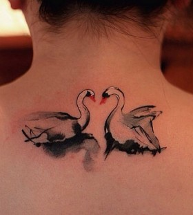 Two swans tattoo by Chen Jie