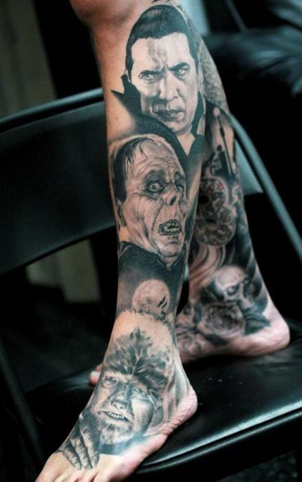 Universal leg's horror scary tattoo
