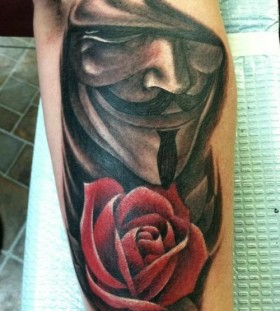 V and rose tattoo