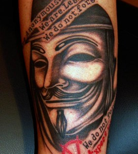 V arm tattoo with quote