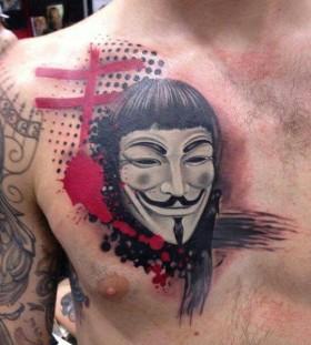 V for vendetta chest tattoo