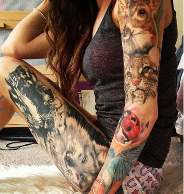 Various animals arm and leg tattoo