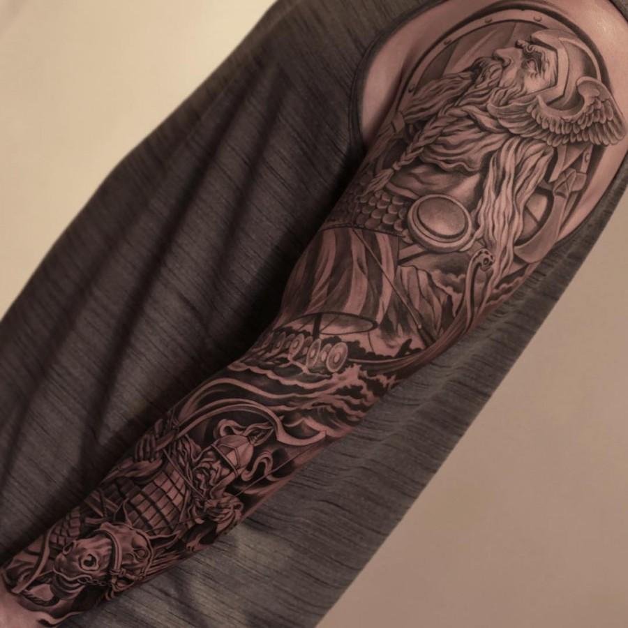 viking sleeve tattoo by juncha