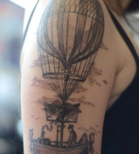 Vintage air balloon tattoo by Alice Kendall
