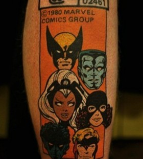 Vintage x-men comic book tattoo