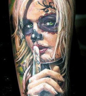 Warning blonde santa muerte girl forearm tattoo