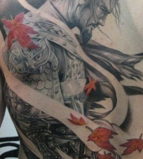 Warrior and leaves tattoo by Elvin Yong