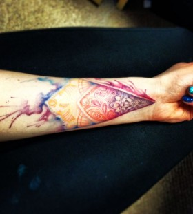 Water colour tattoo with mandala detail
