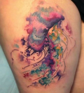 Watercolor jellyfish tattoo