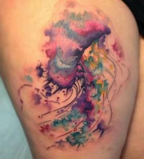 Watercolor jellyfish tattoo