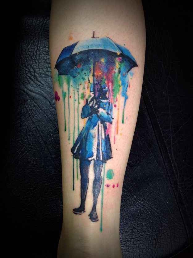 Watercolour tattoo by Victor Octaviano