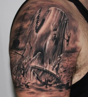 Whale tattoo on arm by Riccardo Cassese