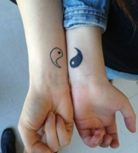 White and black family love tattoo