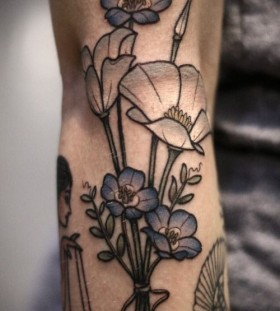 White california poppies tattoo by Kirsten Holliday