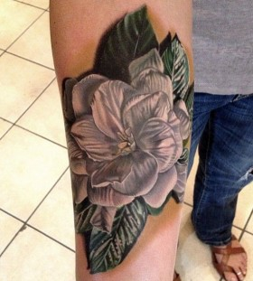 White flower tattoo by Phil Garcia