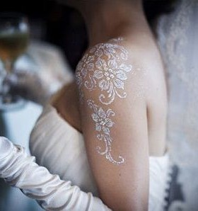 White shoulder bride tattoo