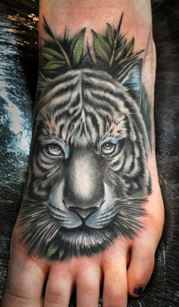 White tiger tattoo by Benjamin Laukis