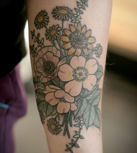 Wild flowers tattoo by Kirsten Holliday