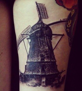 Windmill tattoo by David Allen