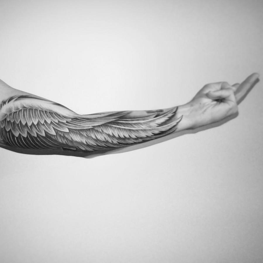 wing half sleeve tattoo by bangbangnyc