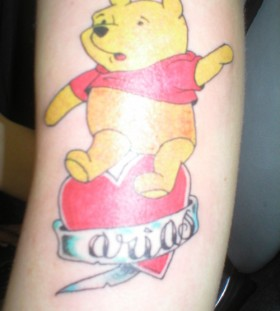 Winnie the pooh and heart tattoo