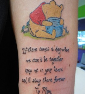 Winnie the pooh and quote tattoo