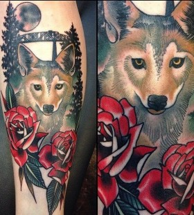 Wolf and flowers tattoo by Amanda Leadman