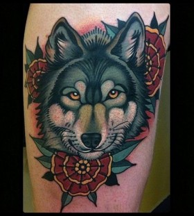 Wolf and flowers tattoo by W. T. Norbert