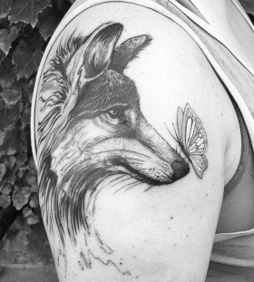 wolf-butterfly-tattoo-by-dinonemec