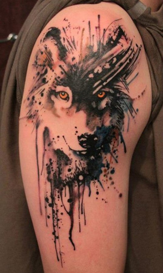 Wolf watercolor tattoo