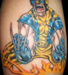 Wolverine in attack mode tattoo