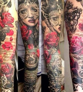 Woman and red roses tattoo by Ellen Westholm