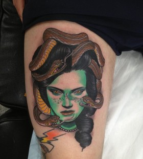 Woman and snakes tattoo by Dan Molloy