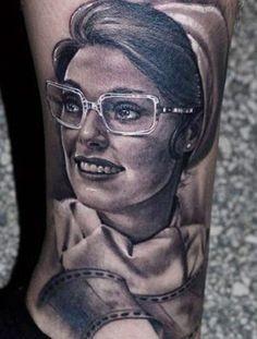 Woman portrait tattoo by James Tattooart