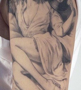 Woman with music records tattoo by Xavier Garcia Boix