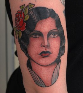 Woman's portrait tattoo