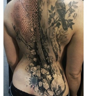 Wonderful back tattoo by David Allen