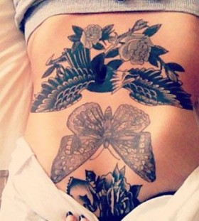 Wonderful butterfly stomach tattoo