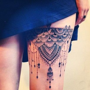 Wonderful chandelier leg tattoo