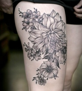 Wonderful dahlia leg tattoo