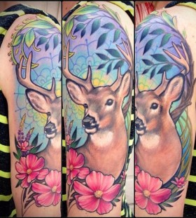 Wonderful deer tattoo by Jessica Brennan