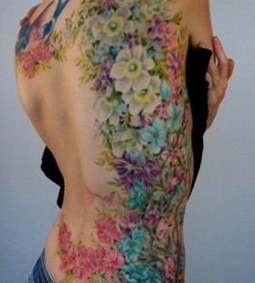 Wonderful flowers watercolor tattoo