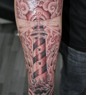 Wonderful lighthouse arm tattoo