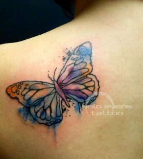 Wonderful looking watercolor butterfly tattoo