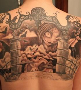 Wonderful nightmare before christmas back tattoo