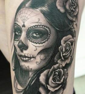 Wonderful painted woman tattoo by James Tattooart