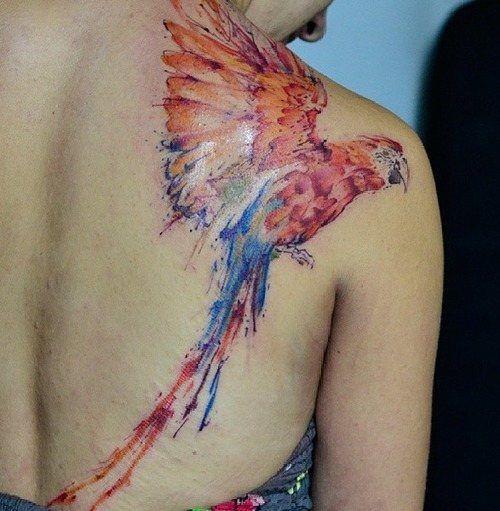 Wonderful parrot back tattoo