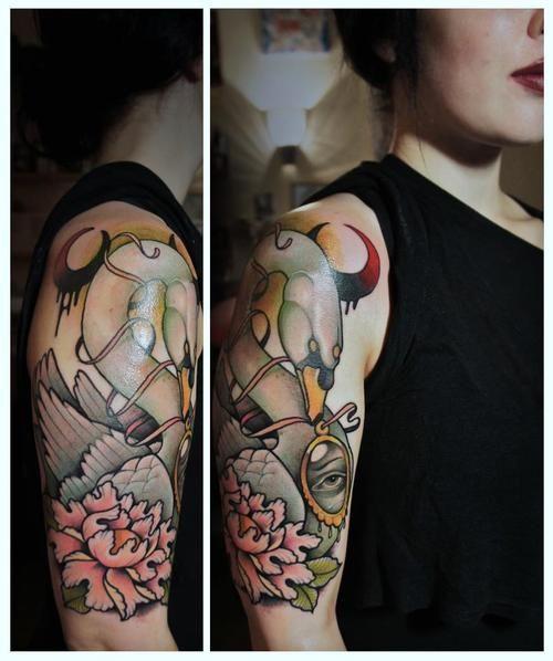 Wonderful swan tattoo by Alex Dorfler