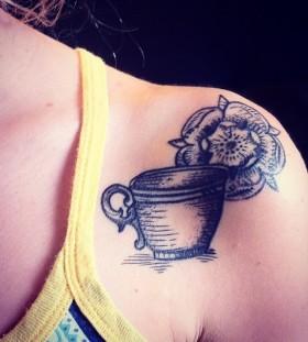 Wonderful teacup shoulder tattoo