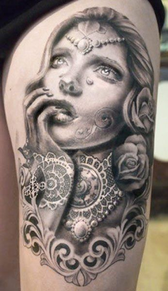 Wonderful woman and flowers tattoo by Ellen Westholm